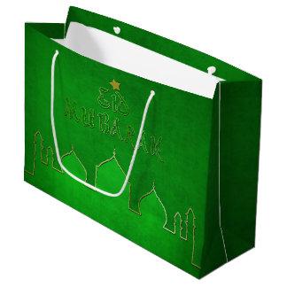 Eid Mubarak Green Gold Mosque - Large Gift Bag