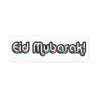 Eid Mubarak Greeting Rainbow Colors Typography Return Address Label