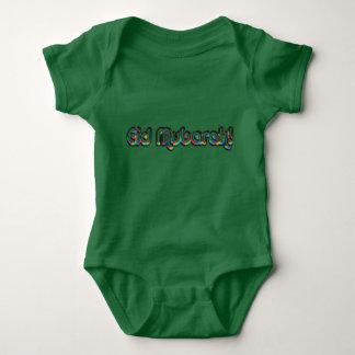 Eid Mubarak Greeting Rainbow Typography Green Baby Bodysuit