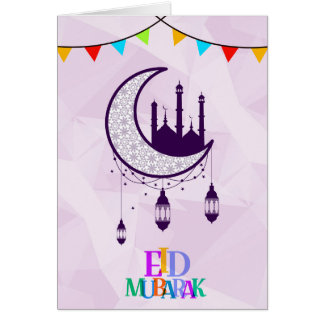 Eid Mubarak greetings with colorful letter design Card