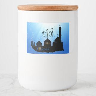 Eid Mubarak Mosque with Sunrays - Food Label