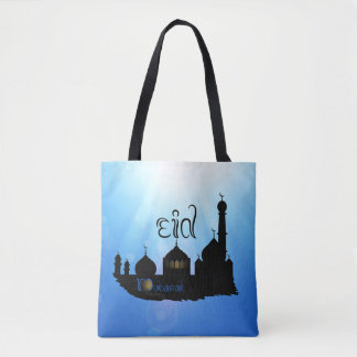 Eid Mubarak Mosque with Sunrays - Tote Bag