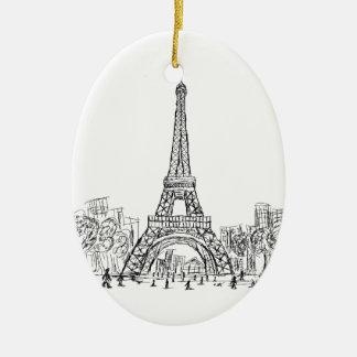 Eifel Tower Paris Ceramic Ornament