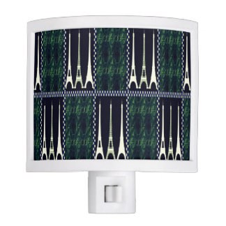 """Eiffel Designs"" Blk & Gren Plaid Night Lites"