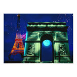 Eiffel Tower and Arc de Triomphe with moon
