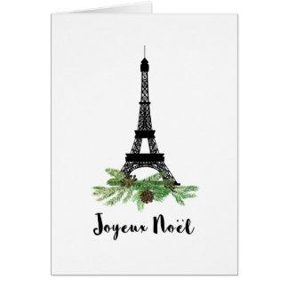 Eiffel Tower and Pine Modern Joyeux Noel Card
