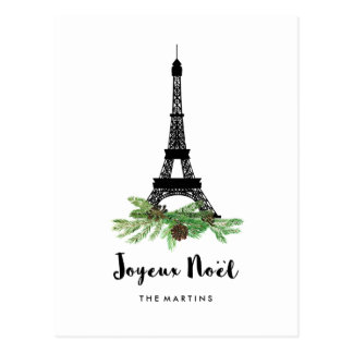 Eiffel Tower and Pine Modern Joyeux Noel Postcard