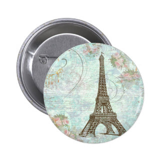 Eiffel Tower and Pink Roses 2 Inch Round Button
