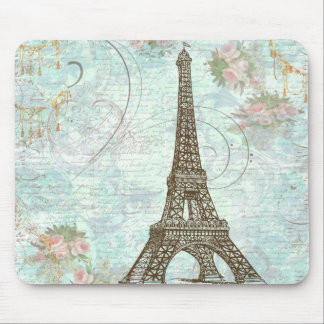 Eiffel Tower and Pink Roses Mouse Pad