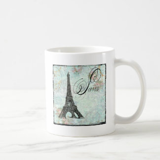 Eiffel Tower and Pink Roses Paris Coffee Mugs