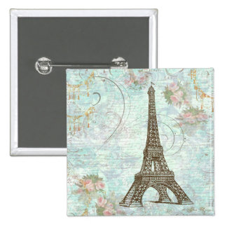 Eiffel Tower and Pink Roses Pinback Buttons
