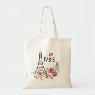 Eiffel tower and summer flowers tote bag