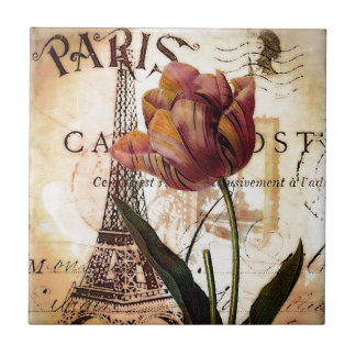 Eiffel Tower and tulip Tile