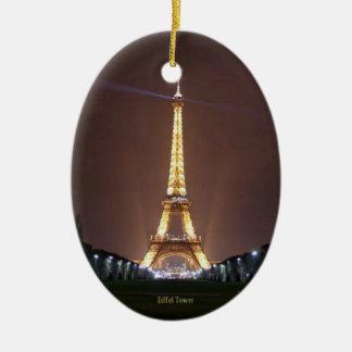 Eiffel Tower at Night Ceramic Oval Ornament