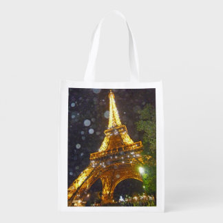 Eiffel Tower at Night, in the Rain! Reusable Grocery Bags