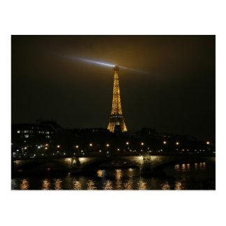 Eiffel tower at night, Paris. Postcard