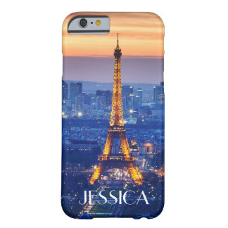 Eiffel Tower at Night with Name Barely There iPhone 6 Case