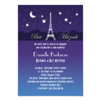 Eiffel Tower Bat Mitzvah Invitation