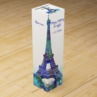 Eiffel tower Birthday Wine Box