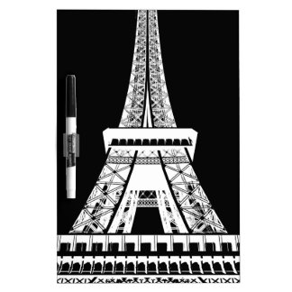 Eiffel Tower Black White Image Dry Erase Boards
