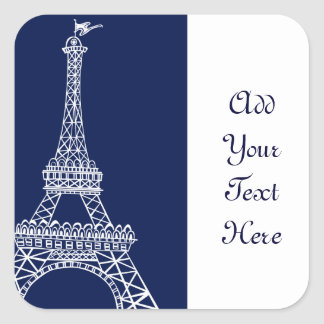 Eiffel Tower Blue and White Template Square Sticker