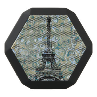 Eiffel Tower Blue Marble Design Black Bluetooth Speaker