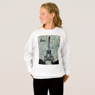 Eiffel Tower Blue Marble Design -Paris Text Sweatshirt