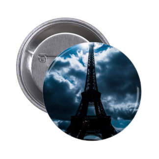 Eiffel Tower Blue Night 2 Inch Round Button