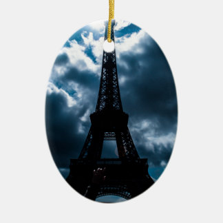Eiffel Tower Blue Night Ceramic Oval Ornament