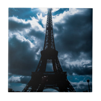 Eiffel Tower Blue Night Ceramic Tiles