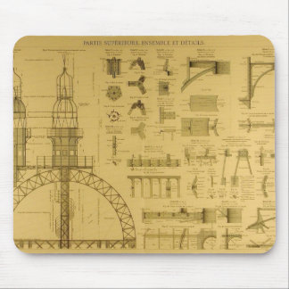 Eiffel Tower Blueprints Mouse Pad