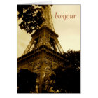 Eiffel Tower, bonjour! travel, blank inside Card