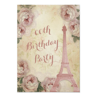 """Eiffel Tower Cabbage Roses Any Age Birthday Party 5"""" X 7"""" Invitation Card"""