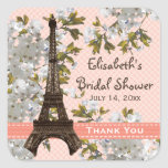 Eiffel Tower Cherry Blossom Thank You Favour Square Stickers
