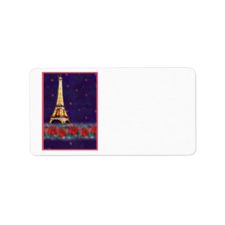 EIFFEL TOWER  CHRISTMAS LABEL