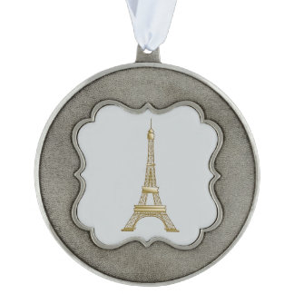 Eiffel Tower Christmas Ornament Decoration Scalloped Pewter Ornament