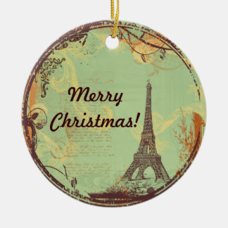 Eiffel Tower Christmas Ornament in Green
