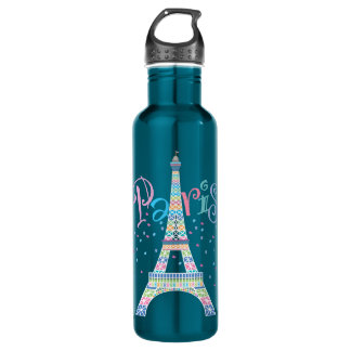 Eiffel Tower Confetti 24 oz. Electric Blue 710 Ml Water Bottle