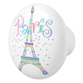 Eiffel Tower Confetti Ceramic Knob