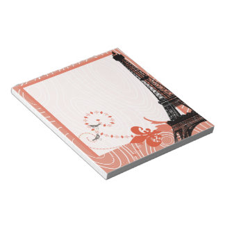 Eiffel Tower Coral Cute Wood Grain Love Birds Notepad