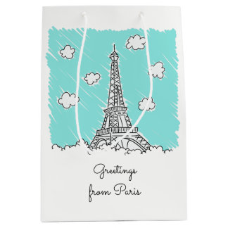 Eiffel Tower custom text gift bag