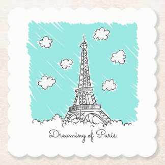 Eiffel Tower custom text paper coasters