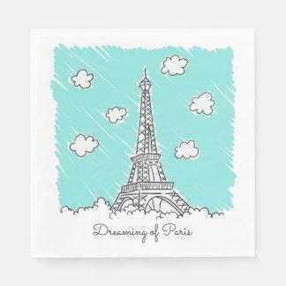 Eiffel Tower custom text paper napkins