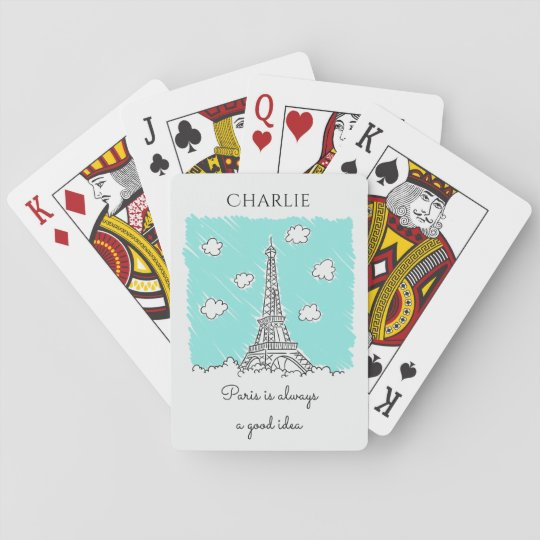 Eiffel Tower custom text playing cards