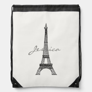Eiffel Tower Drawstring Backpack with Custom Name