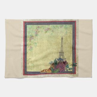 Eiffel Tower & Faded Florals with Swirls Kitchen Towel