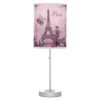 Eiffel Tower Fashion Collage in Lavender & Pink Table Lamp
