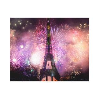 Eiffel Tower Fireworks Canvas Print