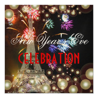 Eiffel Tower, fireworks champagne bubbles Card