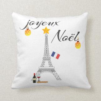 Eiffel Tower Flag of France Joyeux Noel Throw Pillow